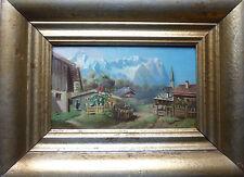 PARTENKIRCHEN ÖL auf Holz um 1890 unleserlich signiert 25 x 15 cm