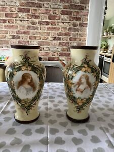 Pair Of Antique Victorian Portrait Painted Glass Vases