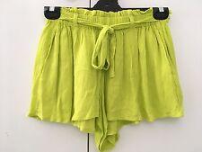 ASOS Lime Green Floppy Boho Crepe Culotte Paper-bag Shorts Tie Waist - Size 10