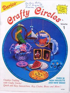 Darice Plastic Canvas Crafty Circles Pattern Book Boxes Baskets Ornaments