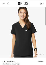 New listing Figs Technical Collection Womens Catarina Scrub Top Black Pocket Fw1000 Sz Xxs