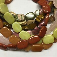 Natural Gemstone Flat Oval Beads 15x20mm, 15.5