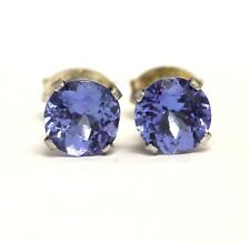 925 Sterling Silver round tanzanite stud earrings .8g estate vintage