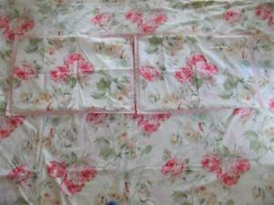 Laura Ashely Pink Floral Roses Queen Size Duvet Doona Quilt Cover & Pillowcases