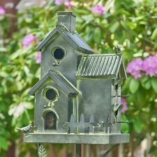 Large Galvanized Multi-Birdhouse Stakes, Room for Multiple Birds in Each