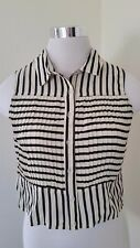 Minkpink Womens Shirt Crop Top Small Striped Sleeveless Button Front Pleated New