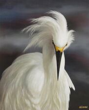 Wall Decor Stunning Snowy Egret canvas  art  29x40 EBAY EXCLUSIVE