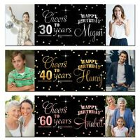 2 personalised birthday banner Photo Silver Gold Rose Gold party wedding poster