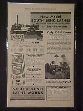 Old ~South Bend Machinist Tool Machine Lathe ART PRINT AD~ ORIGINAL ANTIQUE 1931