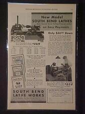 Old ~South Bend Machinist Tool Machine Lathe ART PRINT AD~ ORIGINAL ANTIQUE 1931
