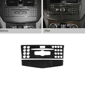 For Benz C Class W204 2007-2010 Carbon Fiber Center Console CD Panel Sticker