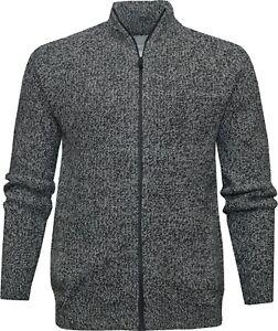 Mens Full Zip Cardigan Knitted Plain Modern Casual Winter Jumper Ex Store XS - L