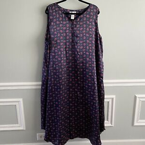 CABERNET Womens Satin Gown SLEEPWEAR Plus 3x LONG NIGHTGOWN BLUE RED PAISLEY