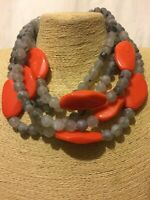 Statement Chunky Multi Coloured Grey Orange Faux Marble Stone Beaded Necklace
