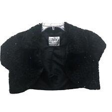 Justice Sz 10 Girls Black Faux Fur Shrug Bolero Wrap Jacket With Sequins