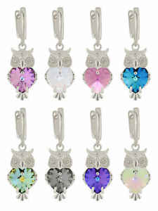 Sterling Silver Silver Plated Owl Earrings made with 6228 Swarovski® Crystals