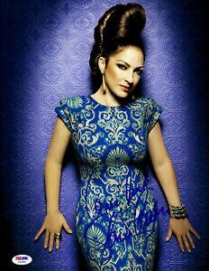 Gloria Estefan Signed 11x14 Blue Dress Photo PSA DNA COA