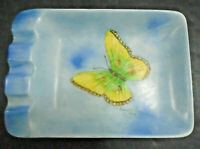 "VINTAGE HAND PAINTED BLUE BUTTERFLY POTTERY DISH ASHTRAY 7 3/8"" ASH TRAY"