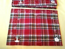 New listing Set of 4 Red Plaid Christmas Place Mats Snowmen St. Nicholas Square Vguc