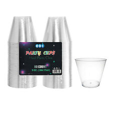 EDI New Clear Plastic Cups 9 oz. cups 80 count Disposable Glasses