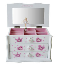 NEW Girls Pink Ballet Dance Wooden Music Jewellery Box Ballerina M03W White 1.5k