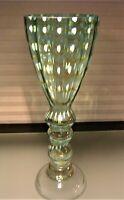 Art Glass Green Blue Vase w/ White Spots Yellow Swags