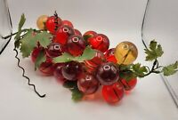 Mid Century Large Lucite Grape Cluster on Driftwood Red