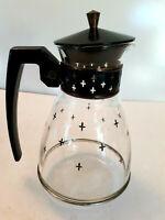 "Vtg MCM Retro Glass Coffee Carafe Pitcher Black Lid Handle Star Cross Atomic 9"""