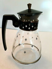 "New listing Vtg Mcm Retro Glass Coffee Carafe Pitcher Black Lid Handle Star Cross Atomic 9"""