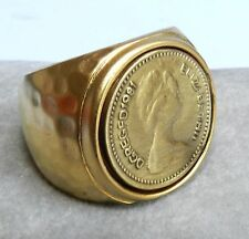 Antique Style Elizabeth Coin Hammered Yellow Gold 24K Plated Ring Sz 6.5