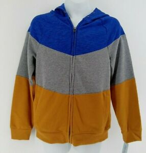 Boys French Terry Colorblock Hoodie Cat & Jack Blue/Gray/Yellow M 8/10