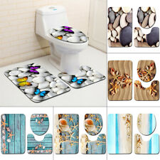 3Pcs/Set Sea Bathroom Non-Slip Pedestal Rug Lid Toilet Cover Carpet Bath Mat Hot