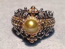 Barbara Bixby Sterling Silver 18k Gold Green Kiwi Pearl Yellow Sapphire Ring 8