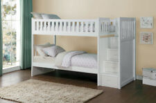White Twin Bunk Bed with Storage Stair Drawer Steps Youth Bedroom Furniture Set