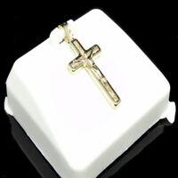"Men's Ladies 10k Yellow Gold Jesus Crucifix Cross Charm Pendant Necklace 1.12"""
