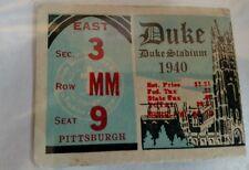 Vintage 1940 DUKE BLUE DEVILS Vs PITTSBURGH PANTHERS  Football Ticket Stub  RARE