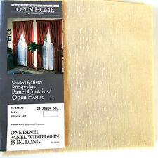 """Sears Semi-Sheer Batiste Rod-Pocket Panel Curtain 60"""" Wide x 45"""" Long Soft Beige"""