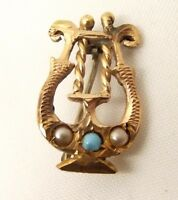 Antique 14k Gold Pin Brooch Lyre Seed Pearl Art Deco Filigree Turquoise Vtg