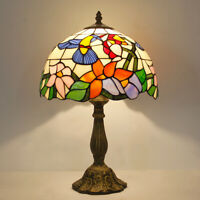 "Retro Tiffany Style Table Lamp Hummingbird Dia 12"" Stained Glass Reading Lamp"