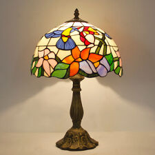 "Dia 11.81"" H18.1"" Tiffany Style Hummingbird Stained Glass Table Reading Lamp"