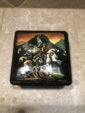 Russian Black Lacquer Wooden Handpainted Signed Square Trinket Box