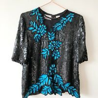FRANK USHER Black Blue Sequin Sparkly Silk Floral Blouse Top 10 VTG Gatsby Deco