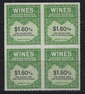 UNITED STATES REVENUE - #RE196 - $1.60 4/5 WINES TAX BLOCK OF 4 MNH NGAI