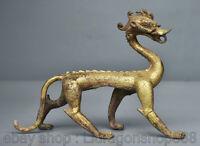 """8.4 """"Vieux Bronze Chinois 24K Or Doré 12 Zodiaque Année Animal Dragon Statue"""