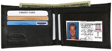 Plain Bifold Thin Genuine Leather Wallet ID Credit Card Front Pocket Black Mens