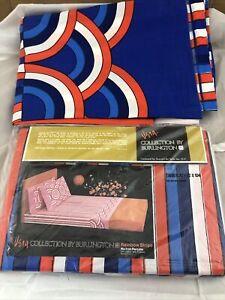 Vintage MCM Vera Neumann Blue Rainbow Striped Twin Flat Sheet Burlington NEW.=2