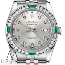Ladies Rolex 26mm Datejust Silver Color Dial with Emerald Diamond Accent Watch