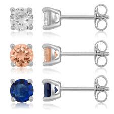 3 Paar Ohrstecker Set 925 Silber Zirkonia weiß blau champagner 5mm Ohrringe uni