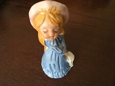 Vtg Little Girl, Blue Dress White Hat W/Parasol,Figurine Ceramic Bell, Taiwan