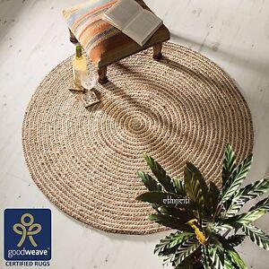 ⭐Round 90cm 120cm Beige Natural Jute Cotton Braided Rug Lounge Study Fair Trade